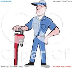 clipart of a retro cartoon white male plumber or handy man