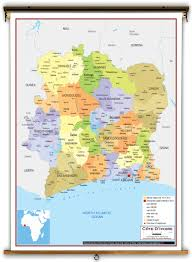 Ivory Coast Map Côte D U0027ivoire Political Educational Wall Map From Academia Maps
