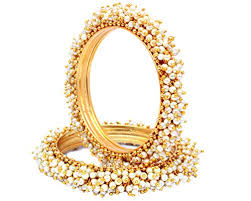 bangle style bracelet images Sanara indian style gold plated pearl studded jpg