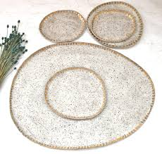 ceramic serving platters pottery serving platter set in white matte speckled with