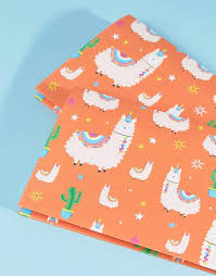 llama wrapping paper tache tache llama birthday wrapping paper 2pk