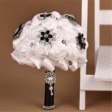 brides bouquet black and white luxury bridal bouquet silk flowers for brides