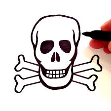 how to draw a skull with crossbones