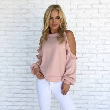 cold shoulder sweaters ruffle cold shoulder sweater top in pink dainty hooligan boutique