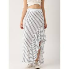 buy dressberry white u0026 blue striped high low maxi skirt online