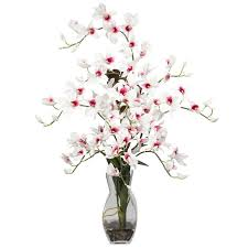 Artificial Floral Arrangements Nearly Natural Dendrobium With Vase Silk Floral Arrangements In