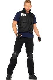 black 4 piece s w a t commander men costume mens costumes