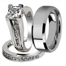 his and hers engagement rings sets his hers 3 pcs tungsten matching band classic princess cut