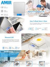 amazon com amir digital kitchen scale pro pocket scales 3000g