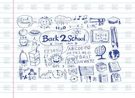 supplies in sketch style on sheet paper background vector