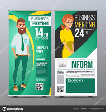 Stand Up Flag Banners Roll Up Stand Vector Vertical Flag Blank Design Businessman And