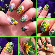 sun flowers lady bugs sculpted gel nails 3d nail art giddy up