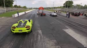 electric porsche 918 watch this 1 088 hp ev a porsche 918 spyder on a dragstrip