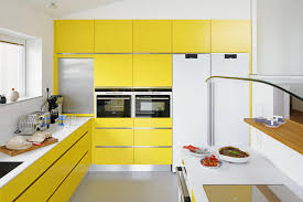 modren white kitchen yellow cabinets intended design decorating