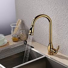 Polished Brass Kitchen Faucet Rozin Gold Polished Pull Out Sprayer Kitchen Faucet Swivel Spout