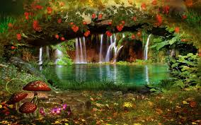 waterfalls lovely outdoor green magical flower colors color