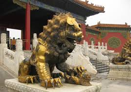 gold lion statues file gold lion forbidden city beijing jpg wikimedia commons