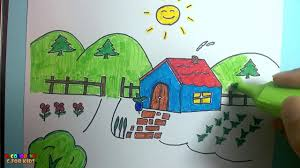 how to draw house tree sun coloring house and tree teach draw