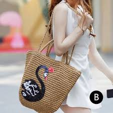 Owl Shoulder - summer sequins bird straw bag for owl swan straw