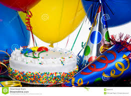 birthday cake party hats and balloons stock photo image 6826618