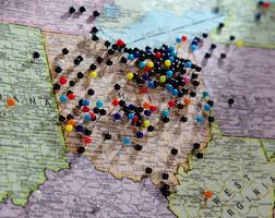 Map With Pins During Football Season Cleveland Browns Fans Make It A Dawgs