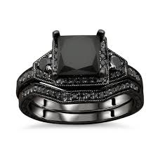 overstock wedding ring sets noori collection 14k gold princess cut black diamond engagement
