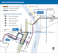 Portland Streetcar Map by Rose Festival Parades