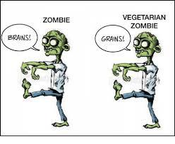 Meme Zombie - brains zombie vegetarian zombie grains meme on me me