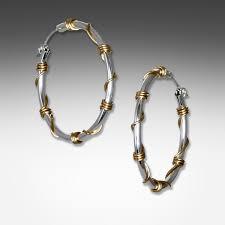 silver hoop earrings q evon sterling silver hoop earrings wrapped with gold wire
