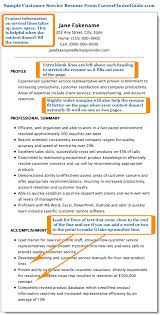 resume for customer service sle customer service resume