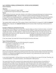 lab 11 empirical formula of copper sulfide