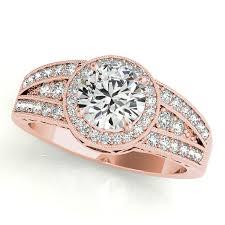 gold engagement ring art deco diamond halo three row v shaped