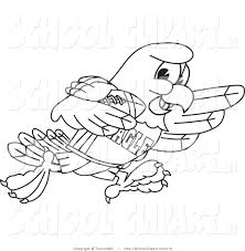 clip art of a coloring page of a bald eagle hawk or falcon in a