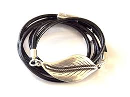 leaf wrap bracelet images Silver leaf and leather wrap bracelet created in the uno de 50 jpg