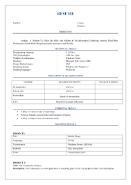 Resume Samples Of Freshers by Fresher Resume Format