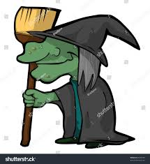 funny cartoon witch her broom halloween stock illustration