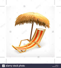Beach Umbrella And Chair Beach Umbrella And Lounge Chair Vector Icon Stock Vector Art