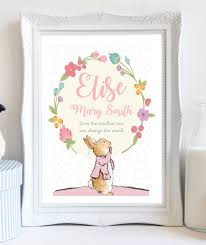 a4 personalised peter rabbit beatrix potter print flower picture