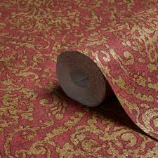 a s creation bohemian burlesque red u0026 gold damask metallic