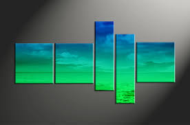 5 piece green ocean abstract large canvas