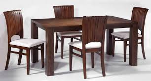 modern dining room with rectangular solid wood table set with
