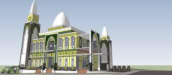 bagaimana desain arsitektur masjid 3 kubah yang terletak di