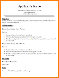 How To Type Resume For A Job by Resume Templates For Teaching Jobs