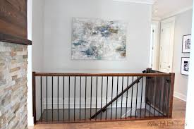 benjamin moore gray owl in hallway and stairwell with dark stained
