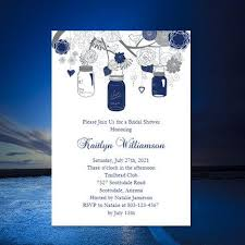 make your own bridal shower invitations bridal shower invitation template rustic jars navy blue