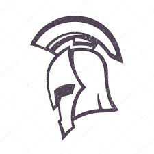 spartan helmet side view isolated on white vector illustration
