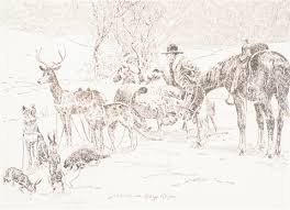 christmas card double sided landscape horse head steer sketch 4