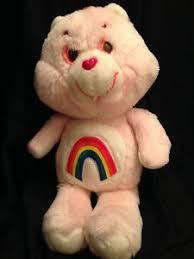vintage cheer care bear pink rainbow belly white feet hearts plush