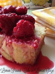 lemon pound cake with lemon glaze and roasted strawberries