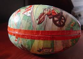 easter egg paper mache two vintage paper mache easter egg candy containers from